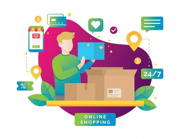 Illustrazione di concetto dello shopping online