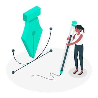 Illustrazione di concetto dello strumento penna