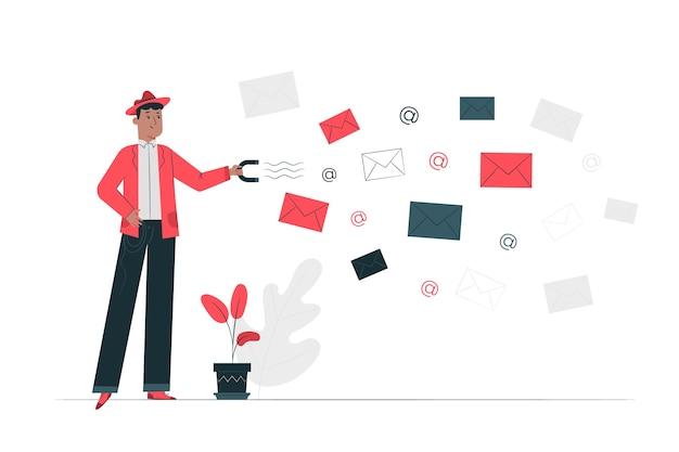Illustrazione di concetto di acquisizione e-mail