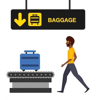 Illustrazione di concetto di aeroporto, uomo nel terminal bagagli dell'aeroporto