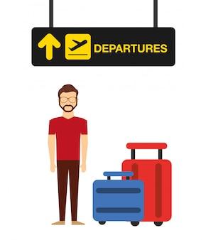 Illustrazione di concetto di aeroporto, uomo nel terminal delle partenze dell'aeroporto
