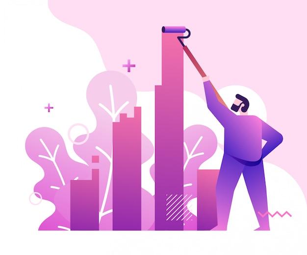 Illustrazione di concetto di affari del grafico della pittura dell'uomo d'affari