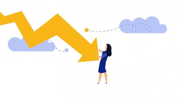 Illustrazione di concetto di affari di perdita di recessione fallita della donna di affari.
