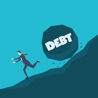 Illustrazione di concetto di affari di un uomo d'affari che fugge dalla grande pietra con il debito del messaggio che sta rotolando giù a lui