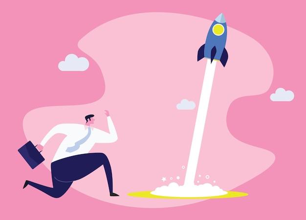 Illustrazione di concetto di affari di un uomo d'affari corrente che corre con un razzo