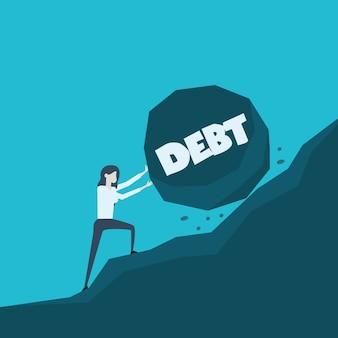 Illustrazione di concetto di affari di una donna di affari che spinge grande pietra con il debito del messaggio sul suo modo fino alla cima