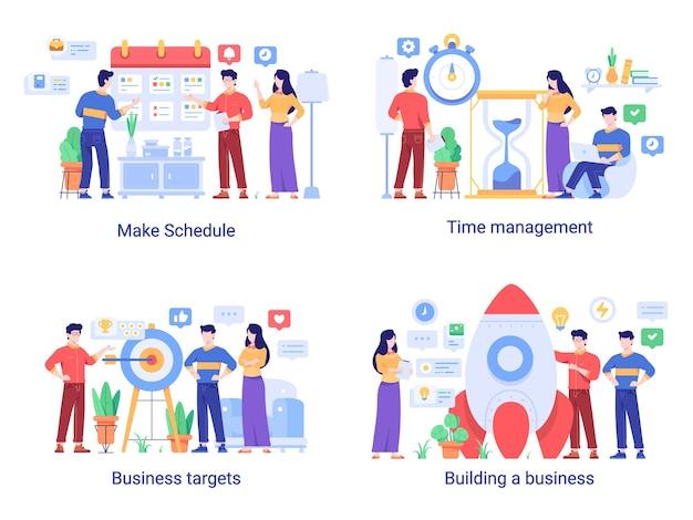 Illustrazione di concetto di affari e finanza (pianificazione, gestione del tempo, obiettivi, obiettivi, razzo) in stile design a gradiente piatto
