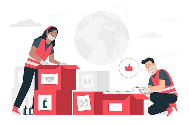 Illustrazione di concetto di aiuto umanitario (persone che donano attrezzature di protezione sanitaria)