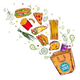 Illustrazione di concetto di alimenti a rapida preparazione