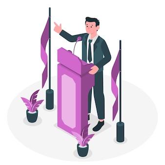 Illustrazione di concetto di altoparlante di conferenza
