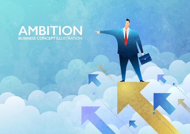 Illustrazione di concetto di ambizione con un uomo d'affari che sta sul segno dorato della freccia che indica in avanti.