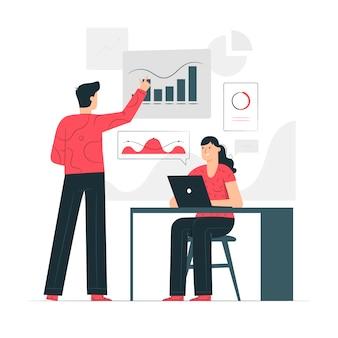 Illustrazione di concetto di analisi dei dati aziendali