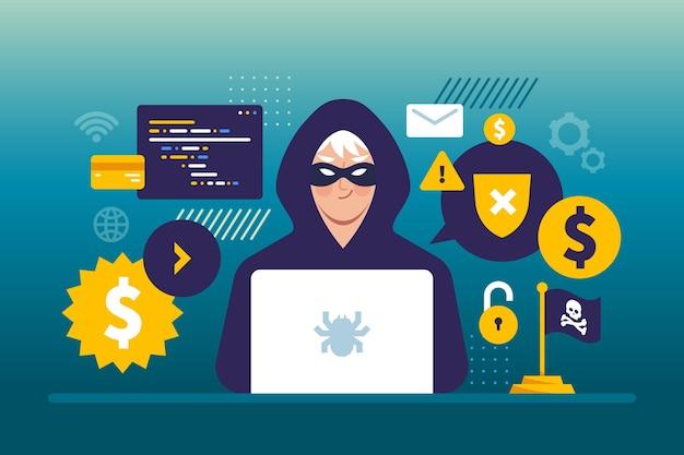 Illustrazione di concetto di attività del pirata informatico con l'uomo e il computer portatile