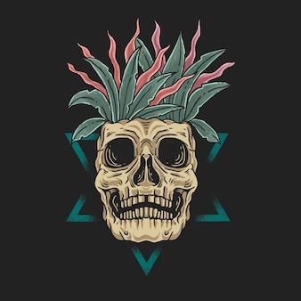 Illustrazione di concetto di bellezza morta floreale del cranio