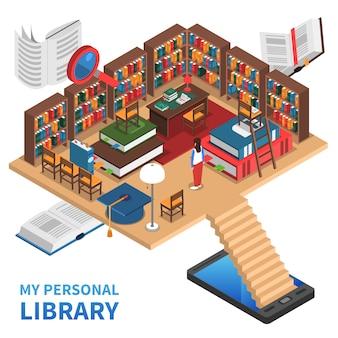 Illustrazione di concetto di biblioteca personale