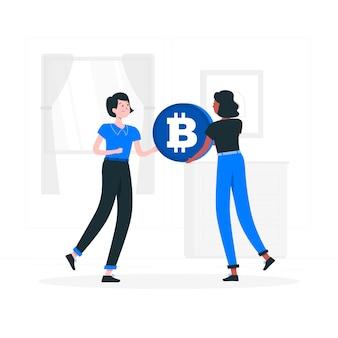 Illustrazione di concetto di bitcoin p2p