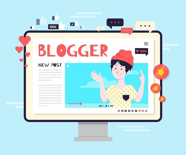 Illustrazione di concetto di blogging