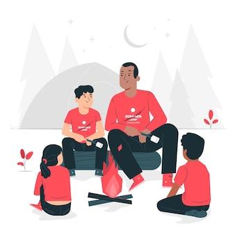 Illustrazione di concetto di campeggio estivo