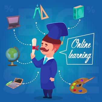 Illustrazione di concetto di carattere di apprendimento online