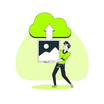 Illustrazione di concetto di caricamento dell'immagine