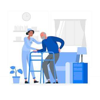Illustrazione di concetto di casa di cura