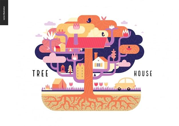 Illustrazione di concetto di casa sull'albero