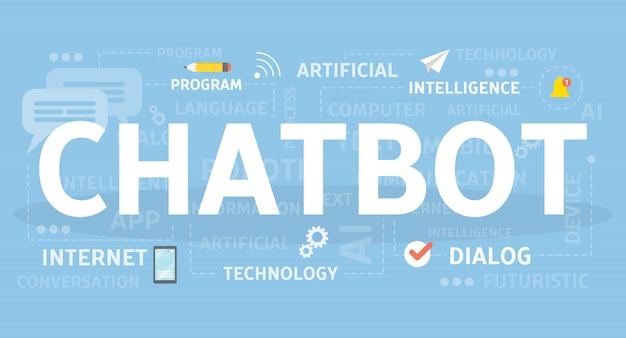 Illustrazione di concetto di chotbot. idea di intelligenza artificiale.