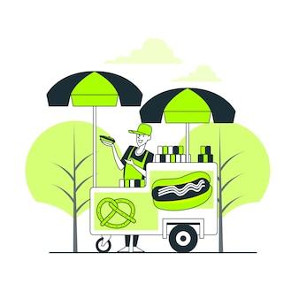 Illustrazione di concetto di cibo di strada