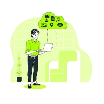 Illustrazione di concetto di cloud hosting