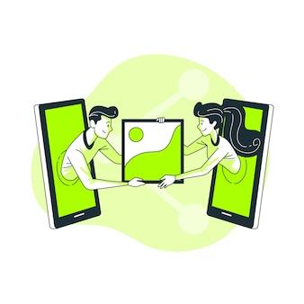 Illustrazione di concetto di condivisione di foto