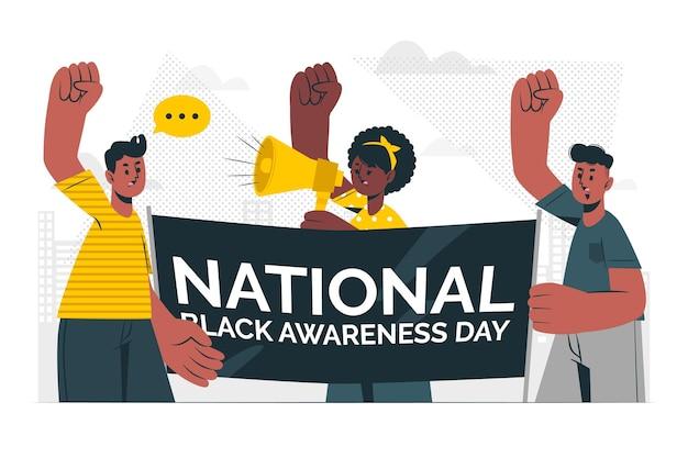 Illustrazione di concetto di consapevolezza nera
