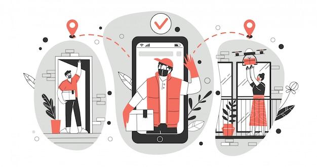 Illustrazione di concetto di consegna senza contatto. un corriere che indossa una maschera medica protettiva e guanti consegna pacchi con un quadricoptero a distanza.