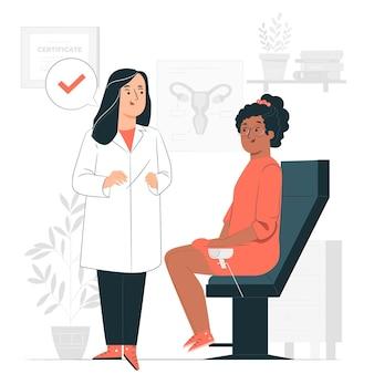 Illustrazione di concetto di consultazione ginecologica