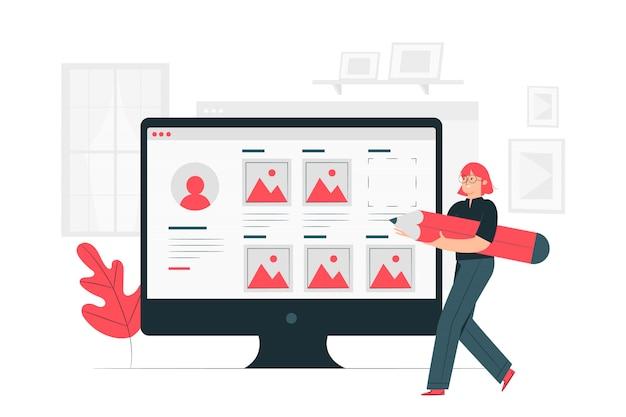 Illustrazione di concetto di creazione del profilo