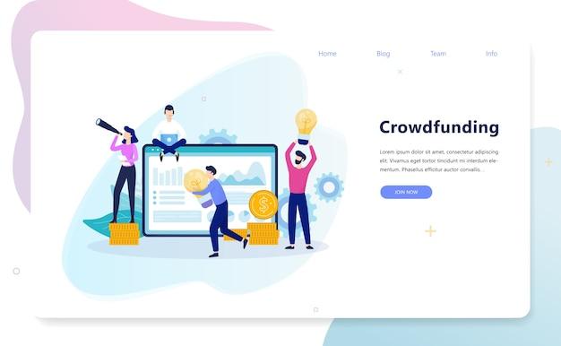 Illustrazione di concetto di crowdfunding. un gruppo di persone dà soldi