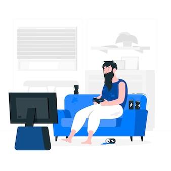Illustrazione di concetto di dipendenza giochi online
