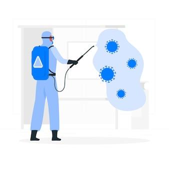 Illustrazione di concetto di disinfezione da virus