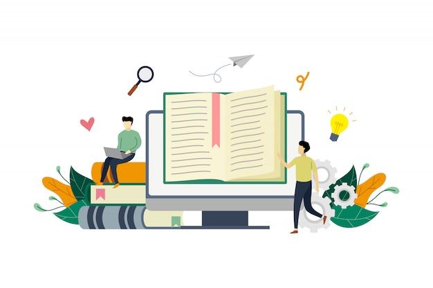 Illustrazione di concetto di e-biblioteca