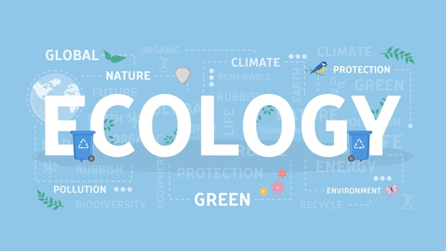 Illustrazione di concetto di ecologia. idea di verde, riciclaggio e ambiente.