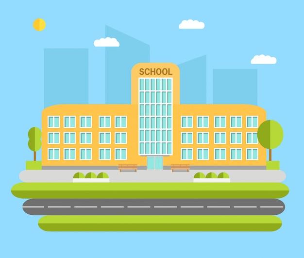 Illustrazione di concetto di edificio scolastico di città.