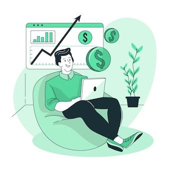 Illustrazione di concetto di entrate