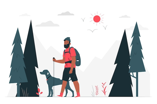Illustrazione di concetto di escursionismo