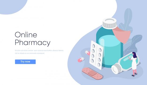 Illustrazione di concetto di farmacia online. pillole e bottiglie piane della medicina isometrica con la composizione nel farmacista.