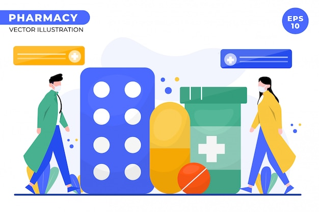 Illustrazione di concetto di farmacia per landing page