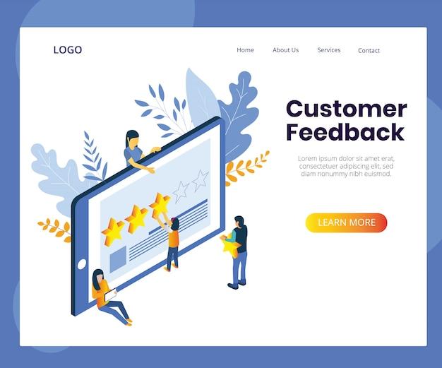 Illustrazione di concetto di feedback dei clienti. recensione del cliente isometric design.