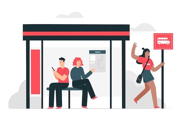 Illustrazione di concetto di fermata dell'autobus