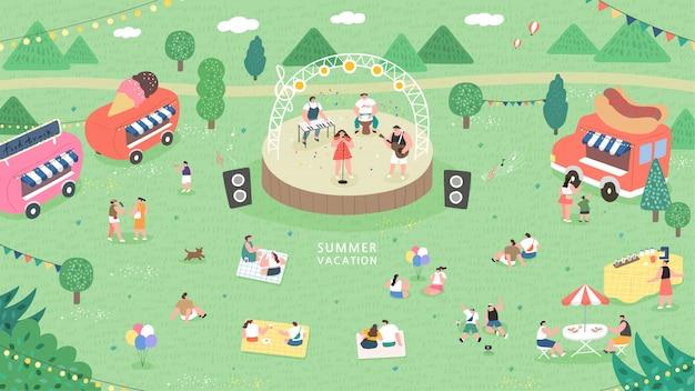 Illustrazione di concetto di festival di musica all'aperto.