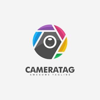 Illustrazione di concetto di fotocamera tag