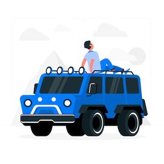 Illustrazione di concetto di fuoristrada