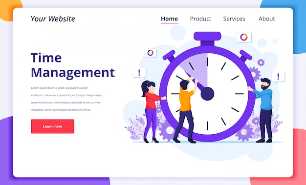 Illustrazione di concetto di gestione del tempo, persone che cercano di fermare il tempo su un orologio gigante per la pagina di destinazione del sito web
